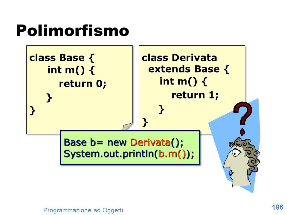 Polimorfismo class Base { int m() { return 0; } class Derivata