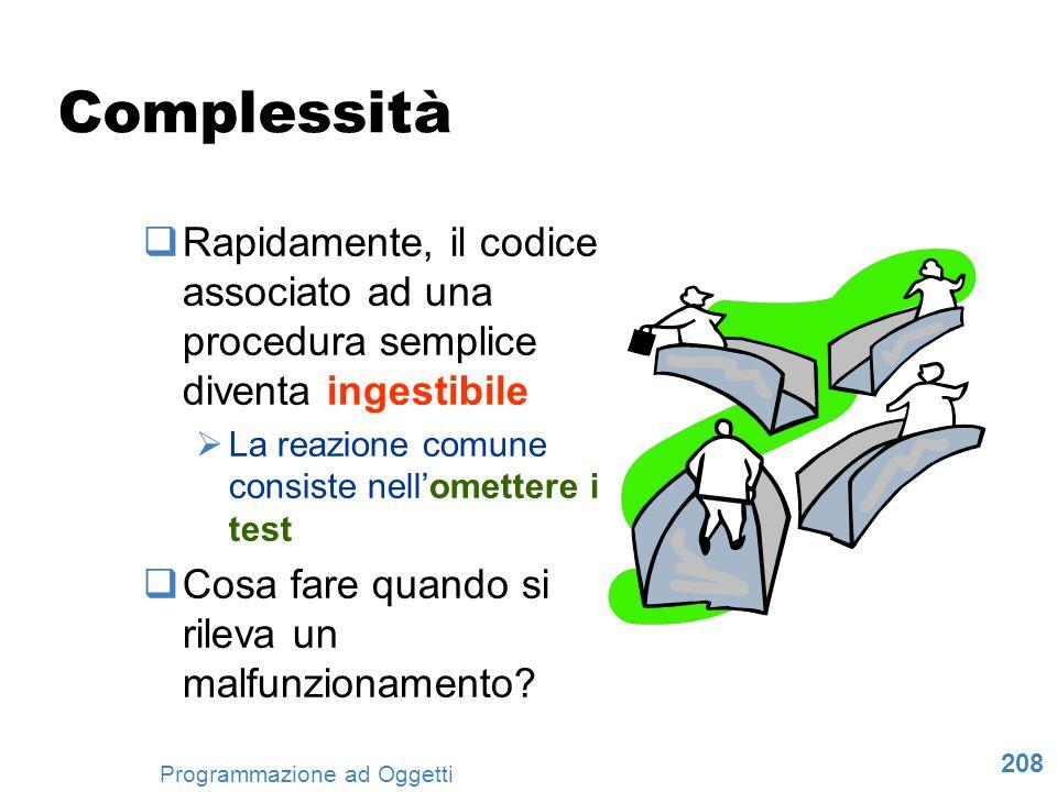 Complessità Rapidamente, il codice associato ad una procedura semplice diventa ingestibile. La reazione comune consiste nell'omettere i test.