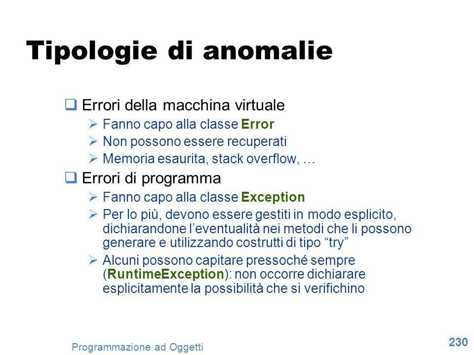 Tipologie di anomalie Errori della macchina virtuale