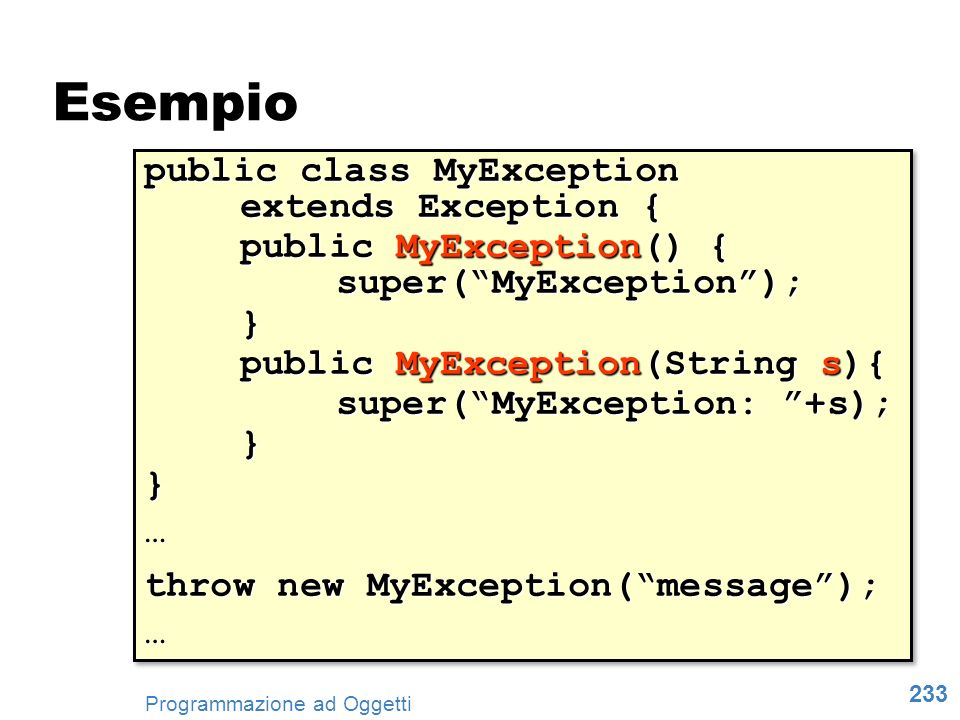 Esempio public class MyException extends Exception {