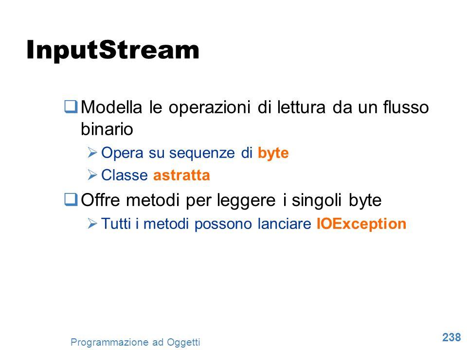 InputStream Modella le operazioni di lettura da un flusso binario