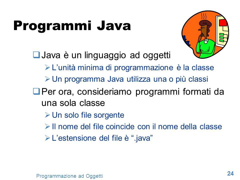 Programmi Java Java è un linguaggio ad oggetti