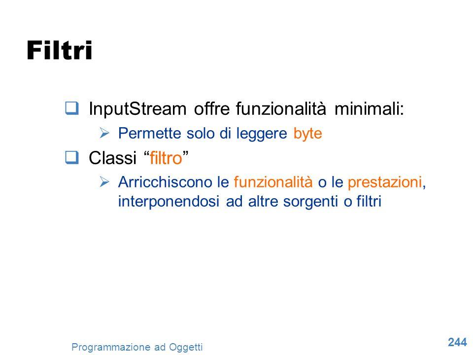 Filtri InputStream offre funzionalità minimali: Classi filtro
