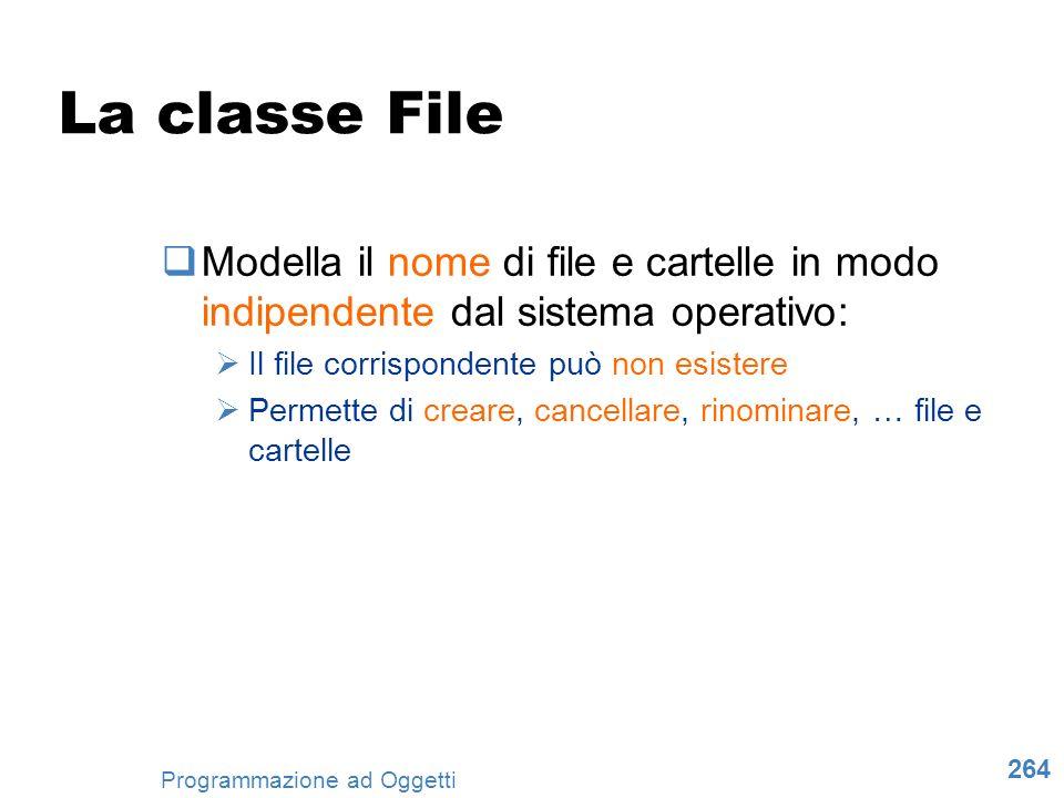 La classe File Modella il nome di file e cartelle in modo indipendente dal sistema operativo: Il file corrispondente può non esistere.
