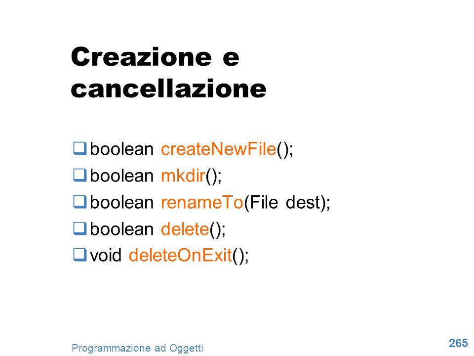 Creazione e cancellazione