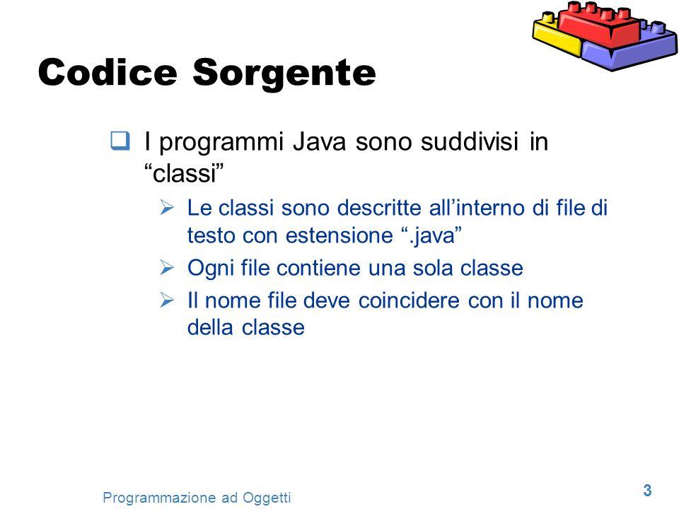 Codice Sorgente I programmi Java sono suddivisi in classi