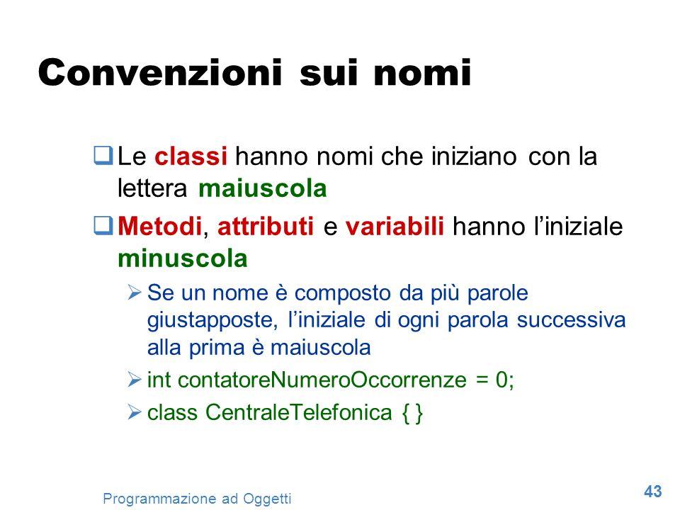 Convenzioni sui nomi Le classi hanno nomi che iniziano con la lettera maiuscola. Metodi, attributi e variabili hanno l'iniziale minuscola.