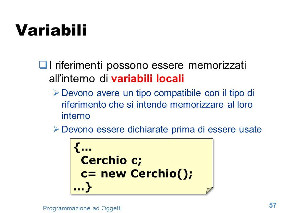 Variabili I riferimenti possono essere memorizzati all'interno di variabili locali.
