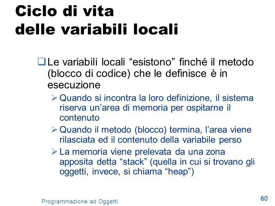 Ciclo di vita delle variabili locali