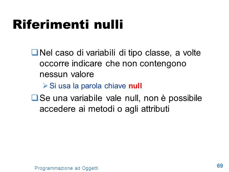 Riferimenti nulli Nel caso di variabili di tipo classe, a volte occorre indicare che non contengono nessun valore.