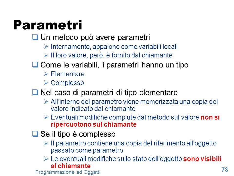 Parametri Un metodo può avere parametri