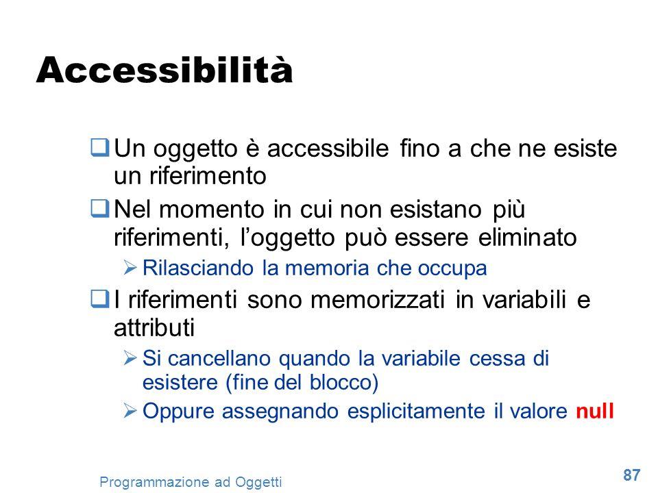 Accessibilità Un oggetto è accessibile fino a che ne esiste un riferimento.