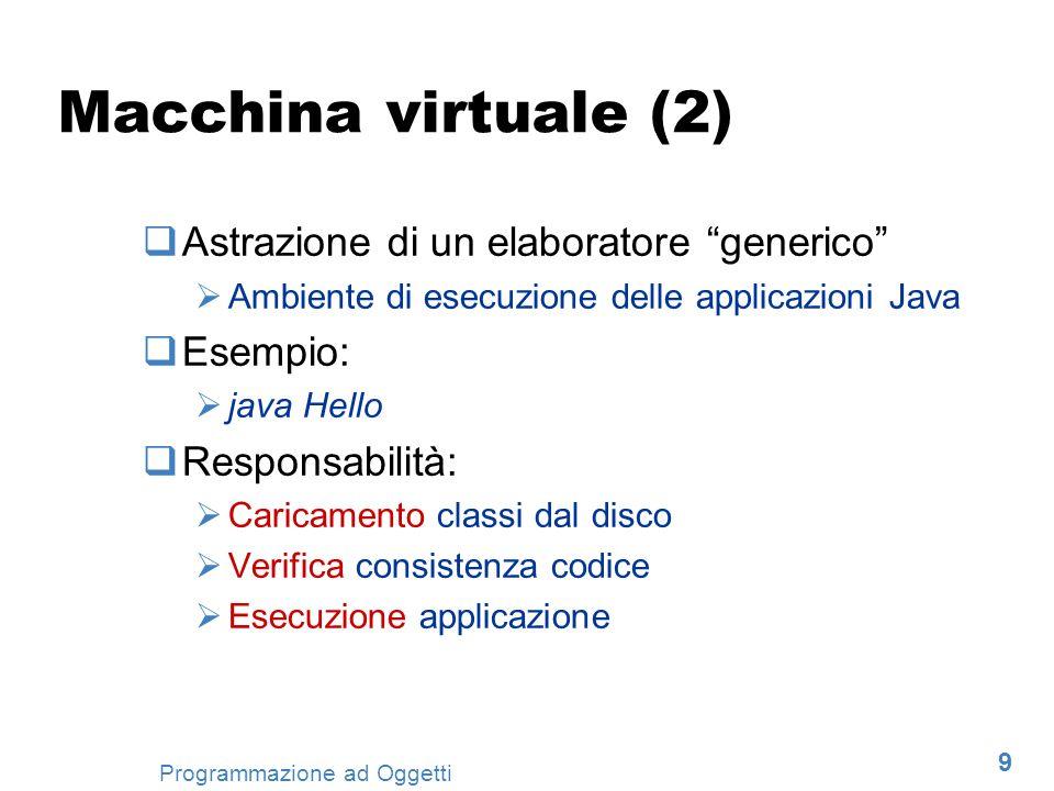 Macchina virtuale (2) Astrazione di un elaboratore generico Esempio: