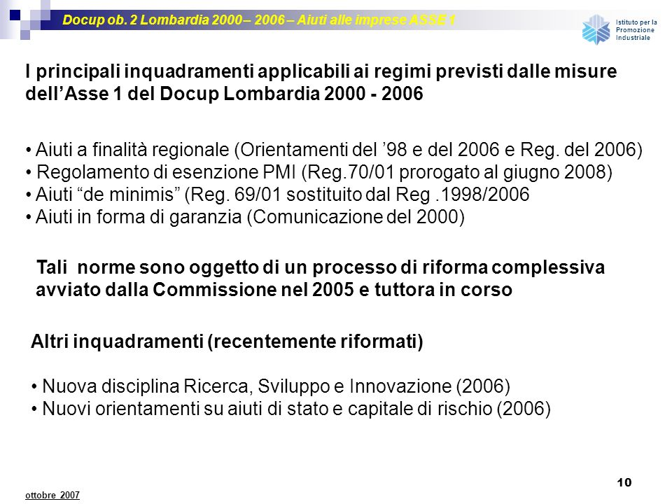 Regolamento di esenzione PMI (Reg.70/01 prorogato al giugno 2008)