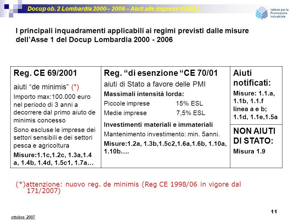 Reg. CE 69/2001 Reg. di esenzione CE 70/01 Aiuti notificati: