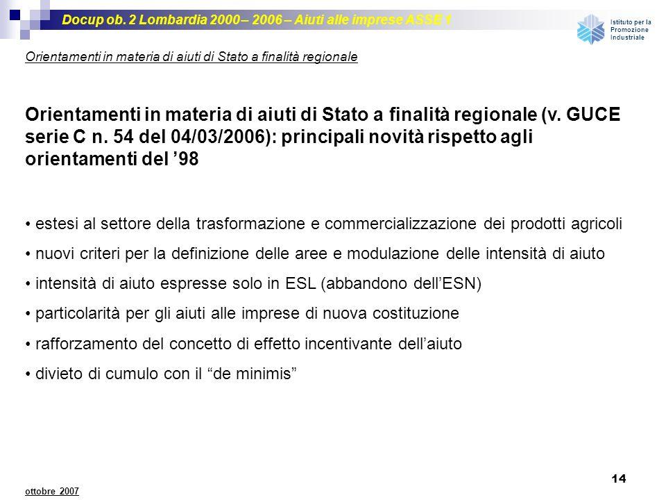 Orientamenti in materia di aiuti di Stato a finalità regionale