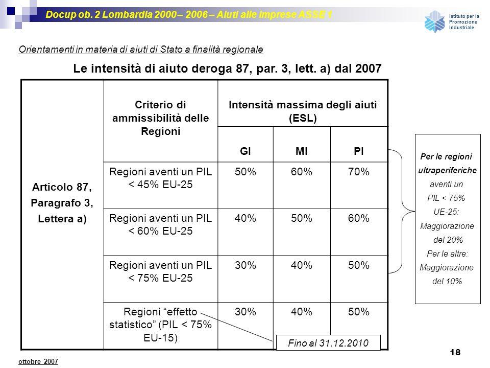 Le intensità di aiuto deroga 87, par. 3, lett. a) dal 2007