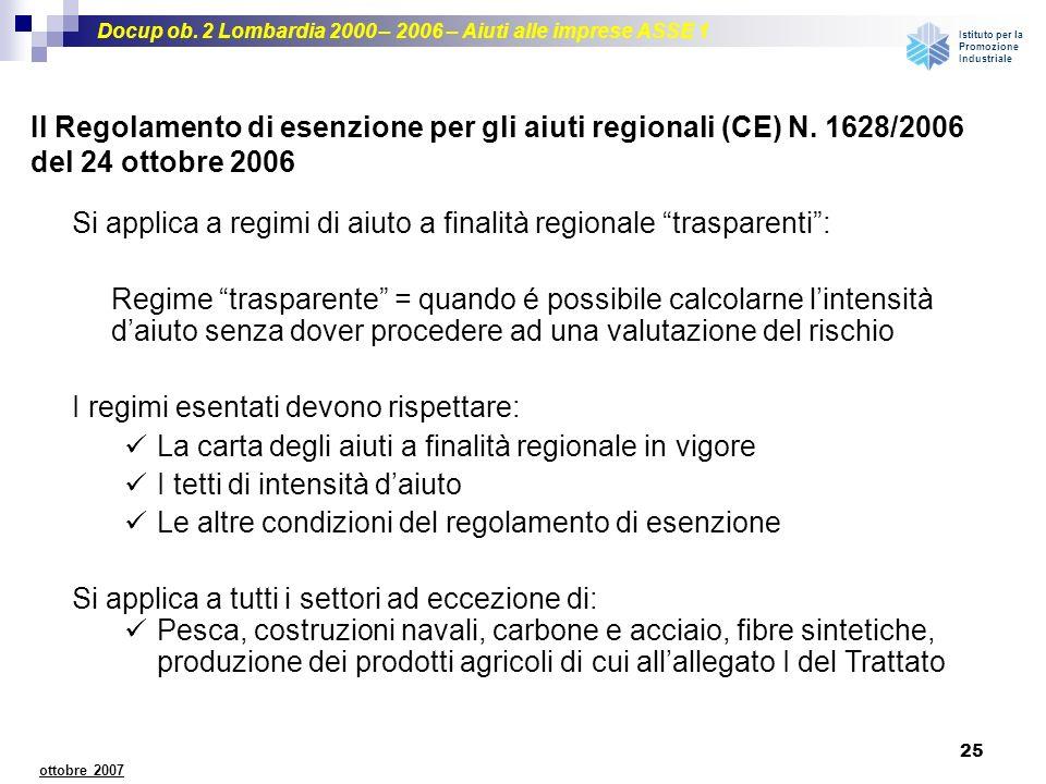 Il Regolamento di esenzione per gli aiuti regionali (CE) N. 1628/2006