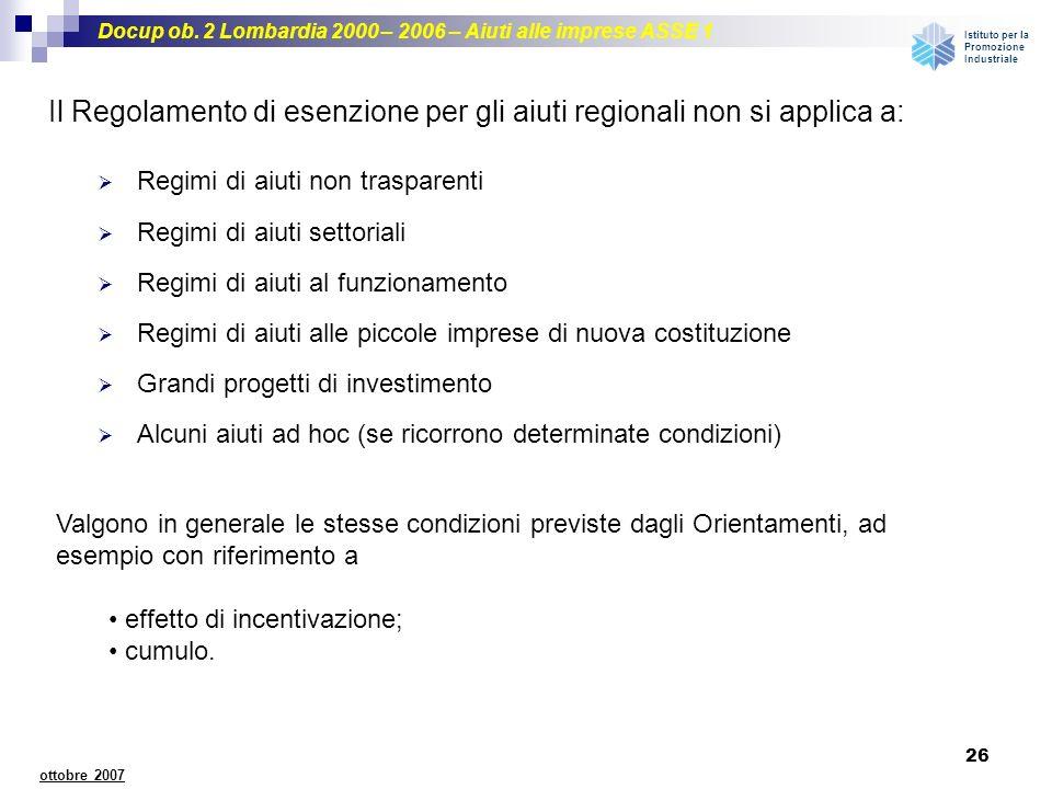 Il Regolamento di esenzione per gli aiuti regionali non si applica a: