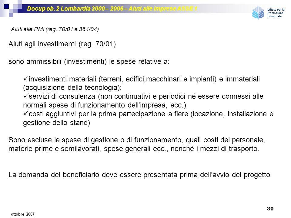 Aiuti agli investimenti (reg. 70/01)