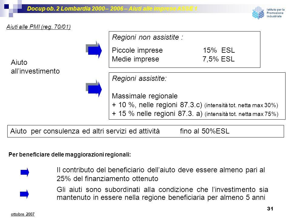 Regioni non assistite : Piccole imprese 15% ESL Medie imprese 7,5% ESL