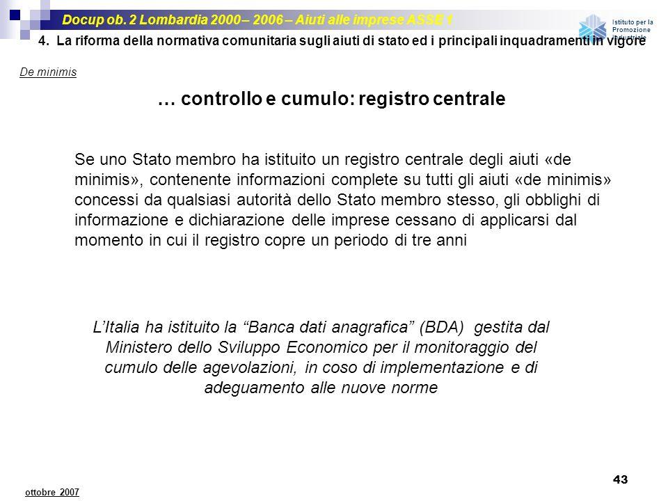… controllo e cumulo: registro centrale