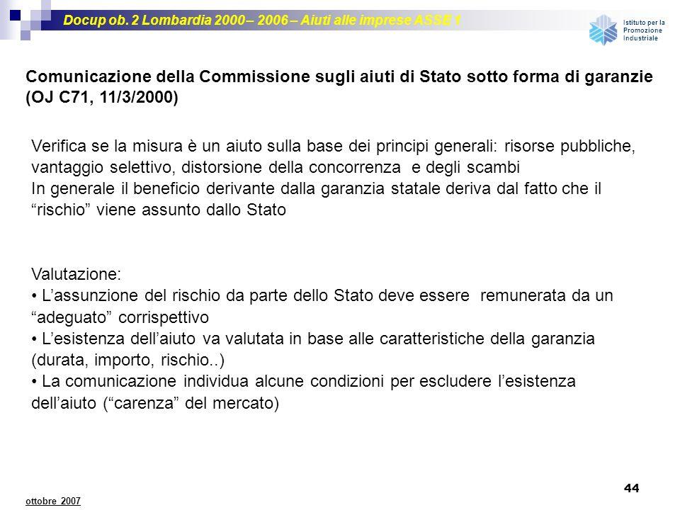 Comunicazione della Commissione sugli aiuti di Stato sotto forma di garanzie (OJ C71, 11/3/2000)