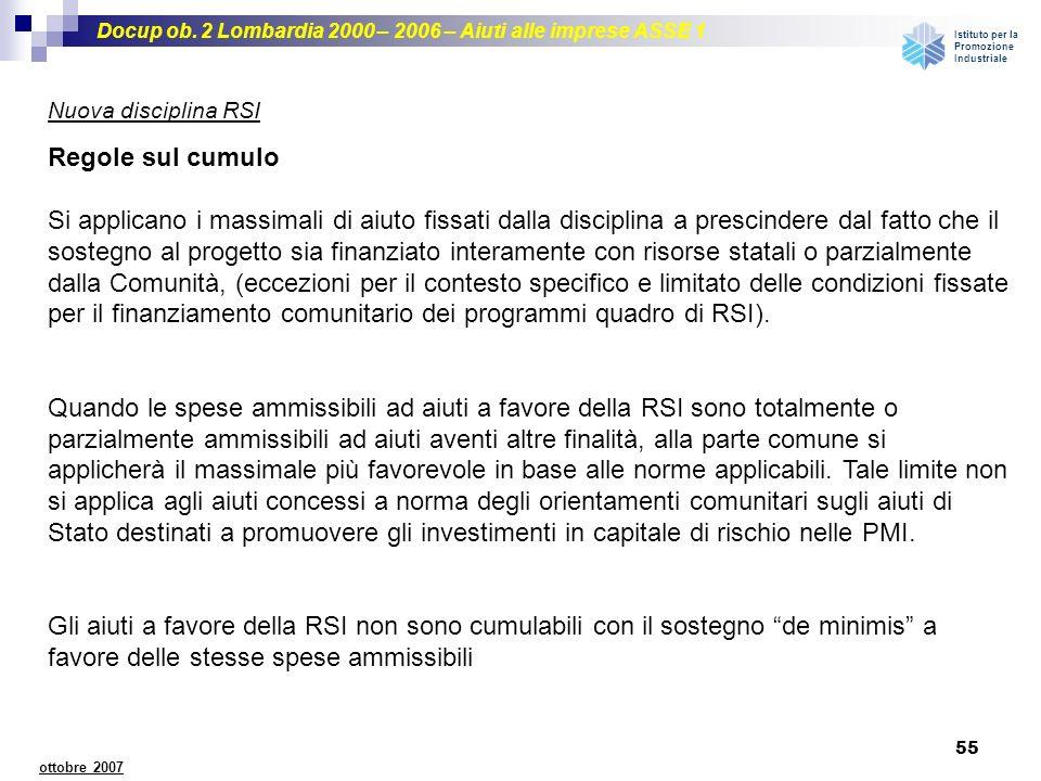 Nuova disciplina RSI Regole sul cumulo.