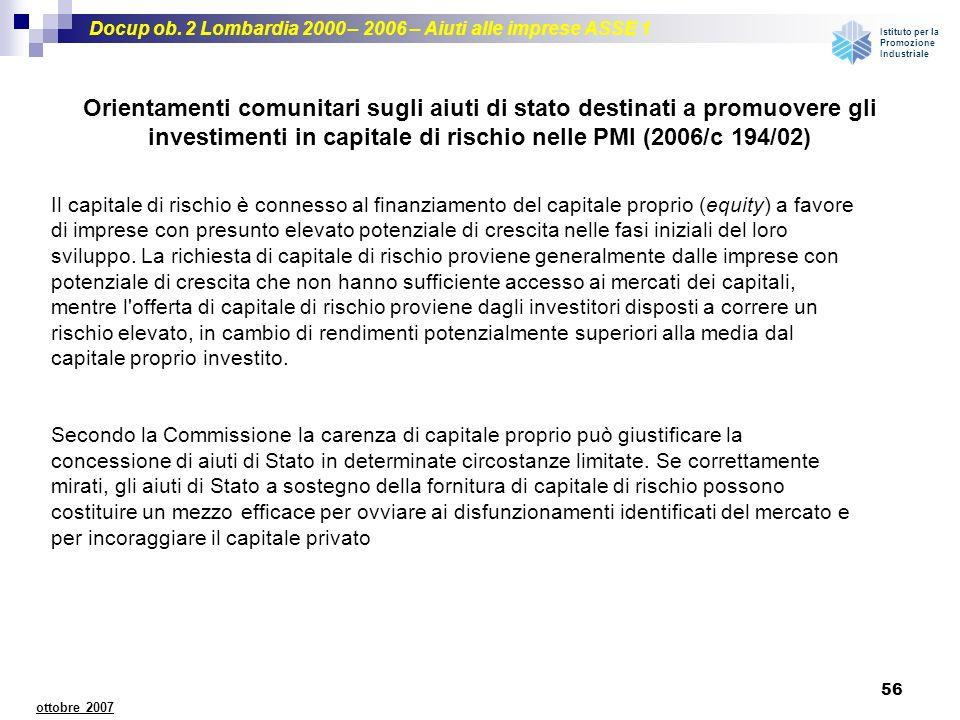 investimenti in capitale di rischio nelle PMI (2006/c 194/02)