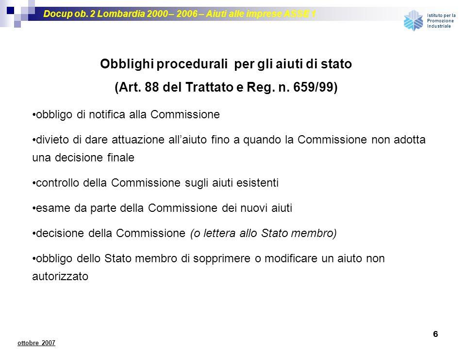 Obblighi procedurali per gli aiuti di stato