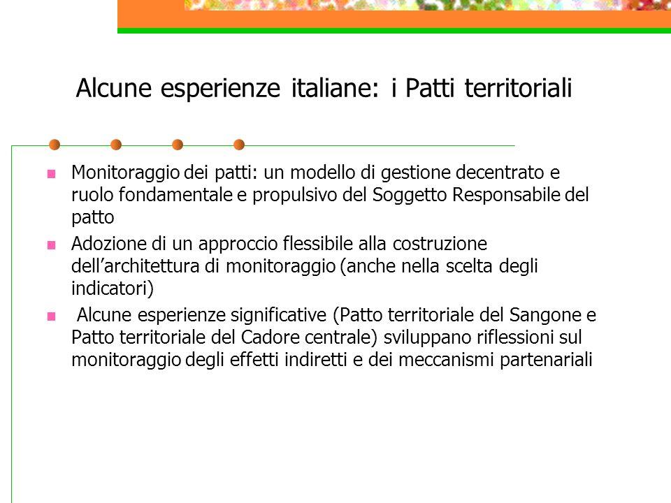 Alcune esperienze italiane: i Patti territoriali