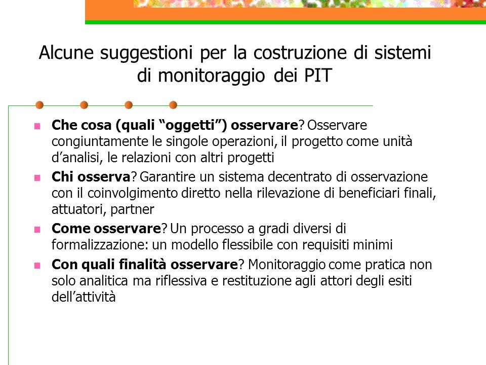 Alcune suggestioni per la costruzione di sistemi di monitoraggio dei PIT