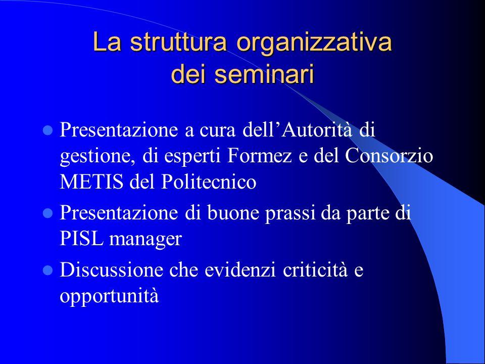 La struttura organizzativa dei seminari