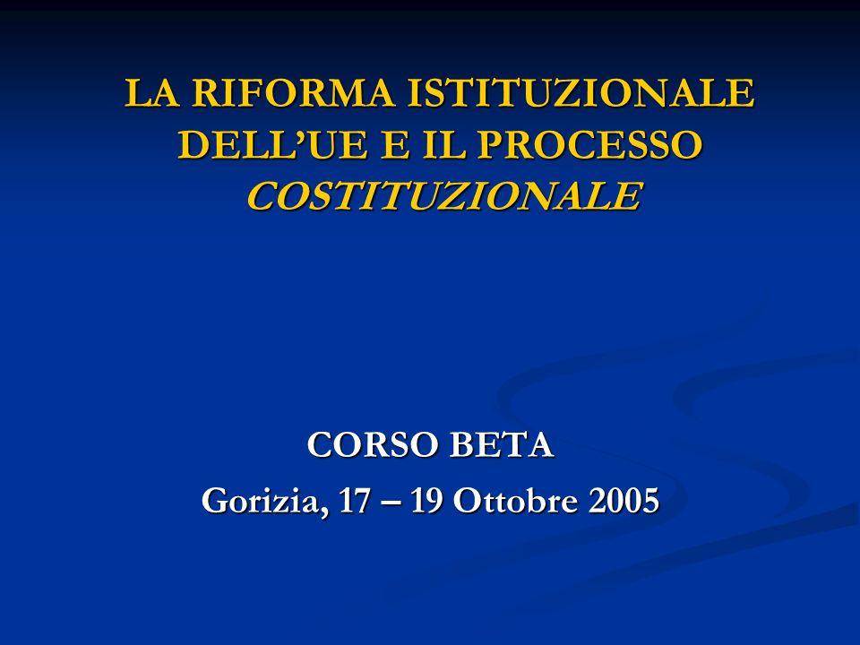 LA RIFORMA ISTITUZIONALE DELL'UE E IL PROCESSO COSTITUZIONALE