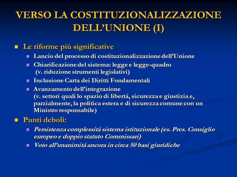 VERSO LA COSTITUZIONALIZZAZIONE DELL'UNIONE (I)