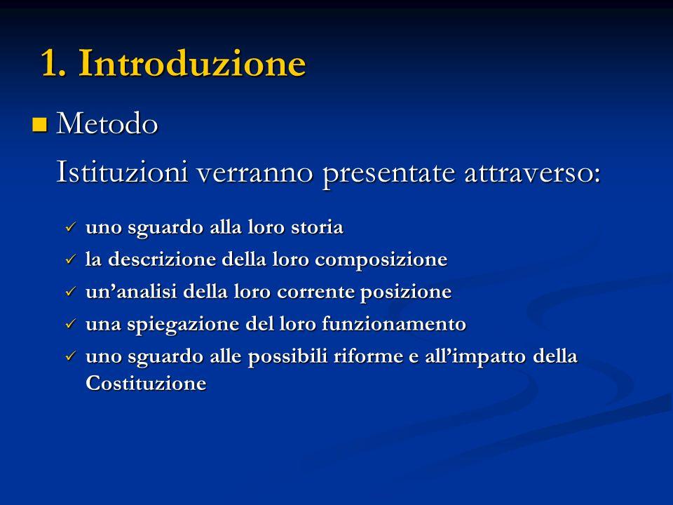 1. Introduzione Metodo Istituzioni verranno presentate attraverso: