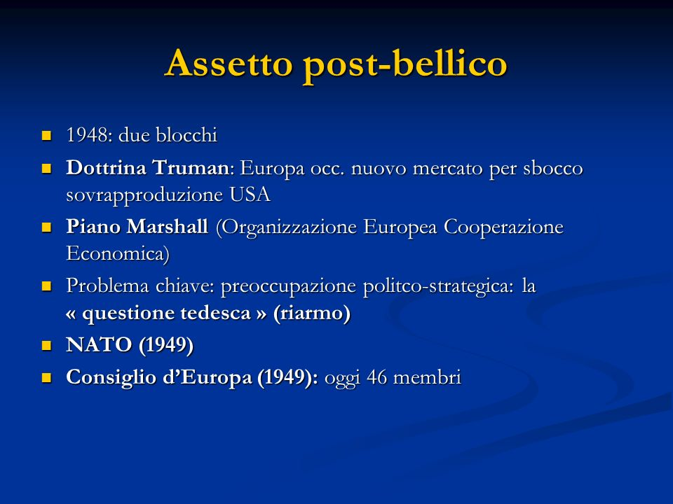 Assetto post-bellico 1948: due blocchi