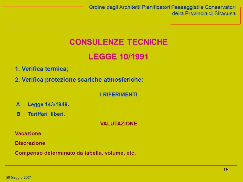 CONSULENZE TECNICHE LEGGE 10/1991