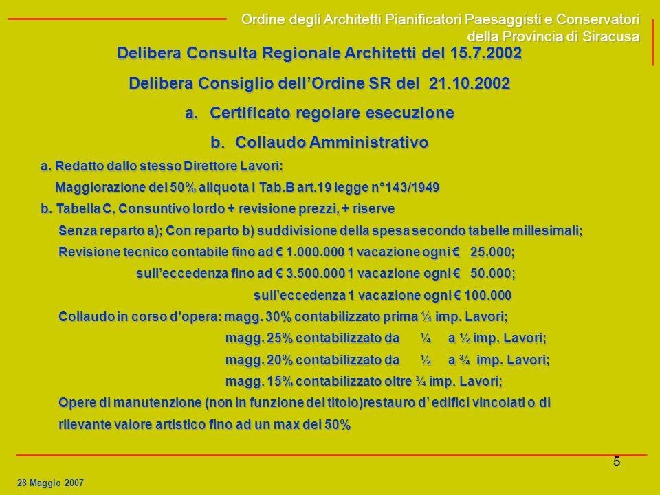 Delibera Consulta Regionale Architetti del 15.7.2002