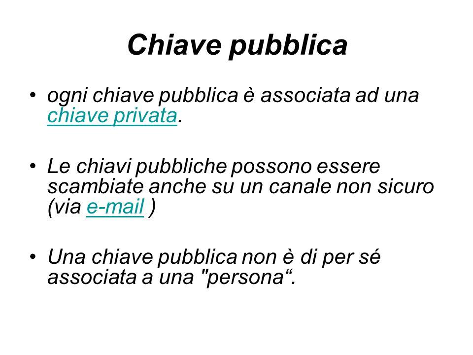 Chiave pubblica ogni chiave pubblica è associata ad una chiave privata.