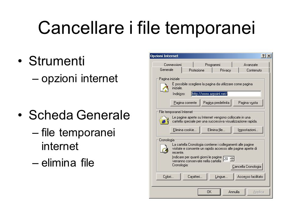 Cancellare i file temporanei