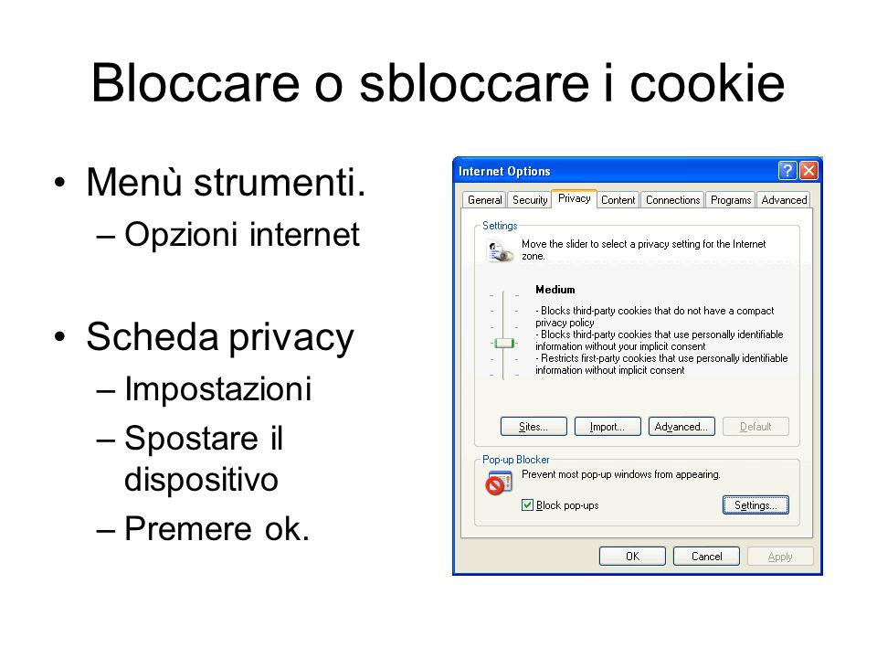 Bloccare o sbloccare i cookie