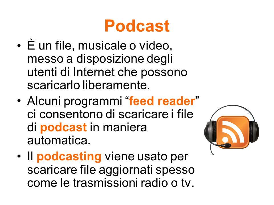 Podcast È un file, musicale o video, messo a disposizione degli utenti di Internet che possono scaricarlo liberamente.