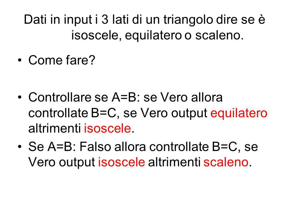 Dati in input i 3 lati di un triangolo dire se è isoscele, equilatero o scaleno.