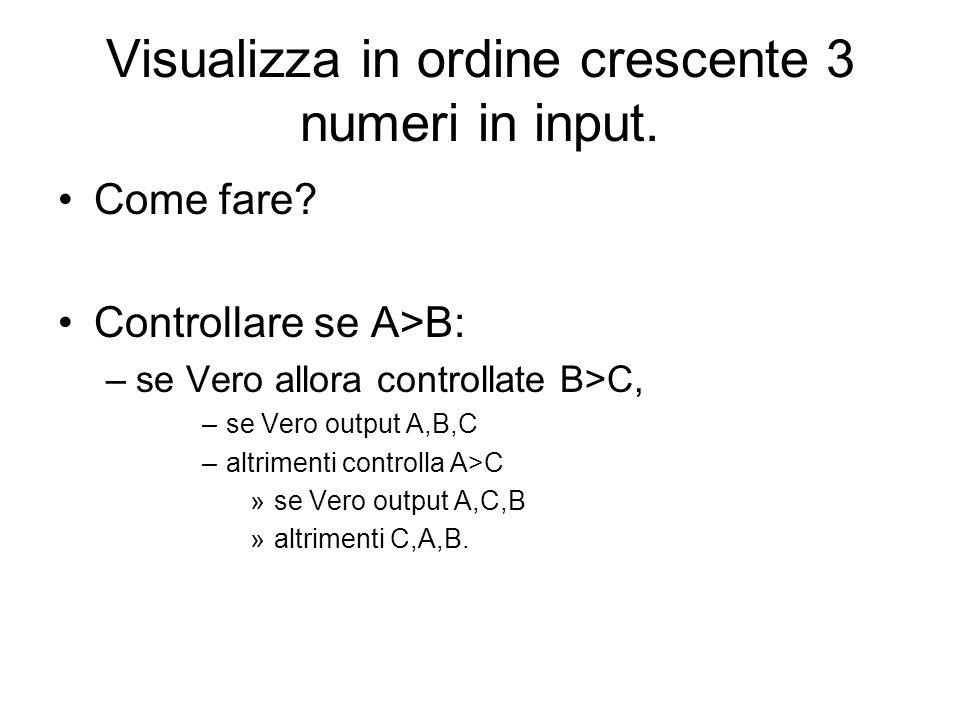 Visualizza in ordine crescente 3 numeri in input.