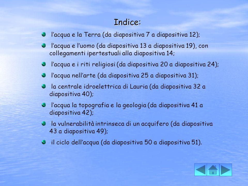 Indice: l'acqua e la Terra (da diapositiva 7 a diapositiva 12);