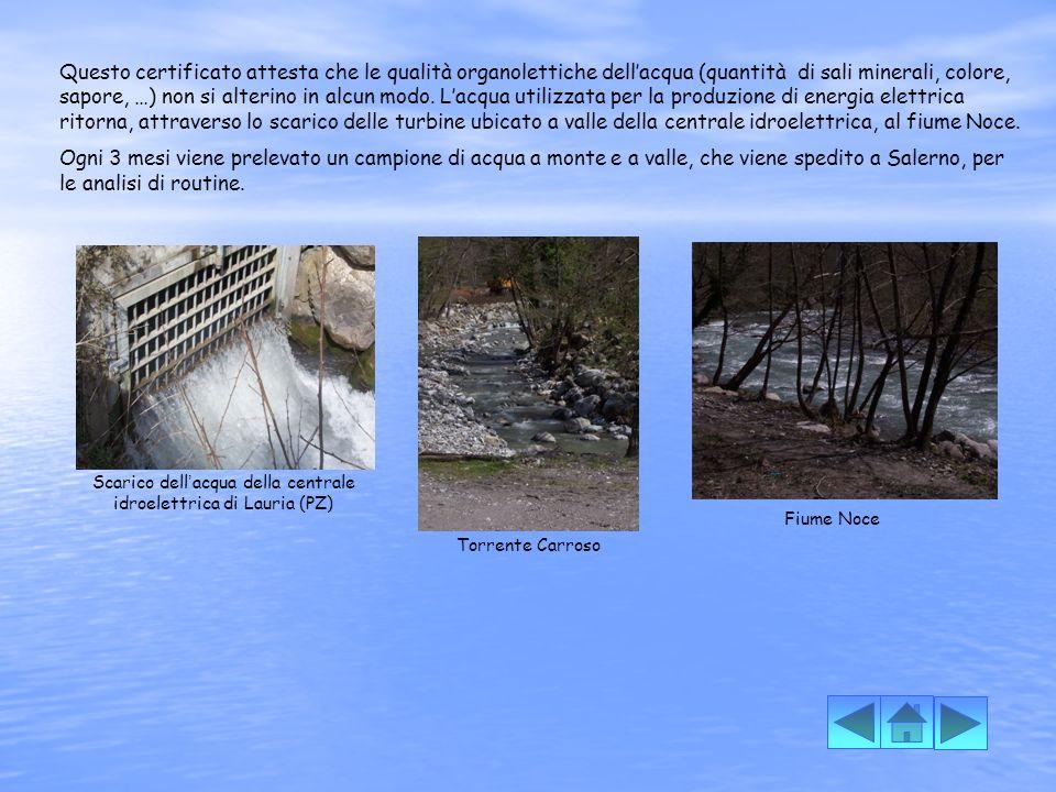 Scarico dell'acqua della centrale idroelettrica di Lauria (PZ)
