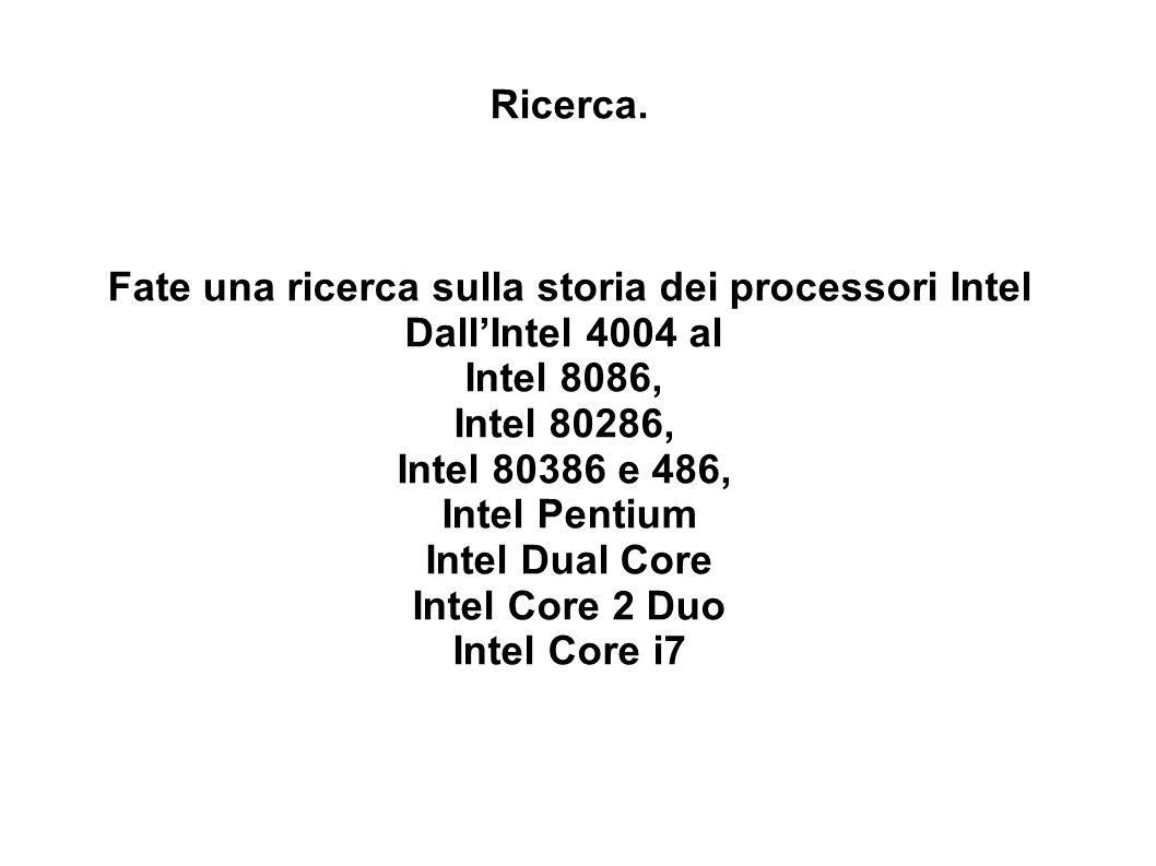 Fate una ricerca sulla storia dei processori Intel