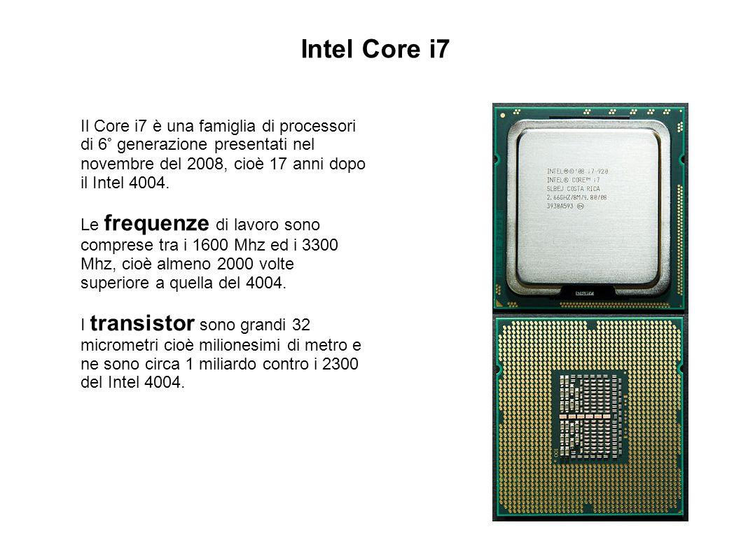 Intel Core i7 Il Core i7 è una famiglia di processori di 6° generazione presentati nel novembre del 2008, cioè 17 anni dopo il Intel 4004.