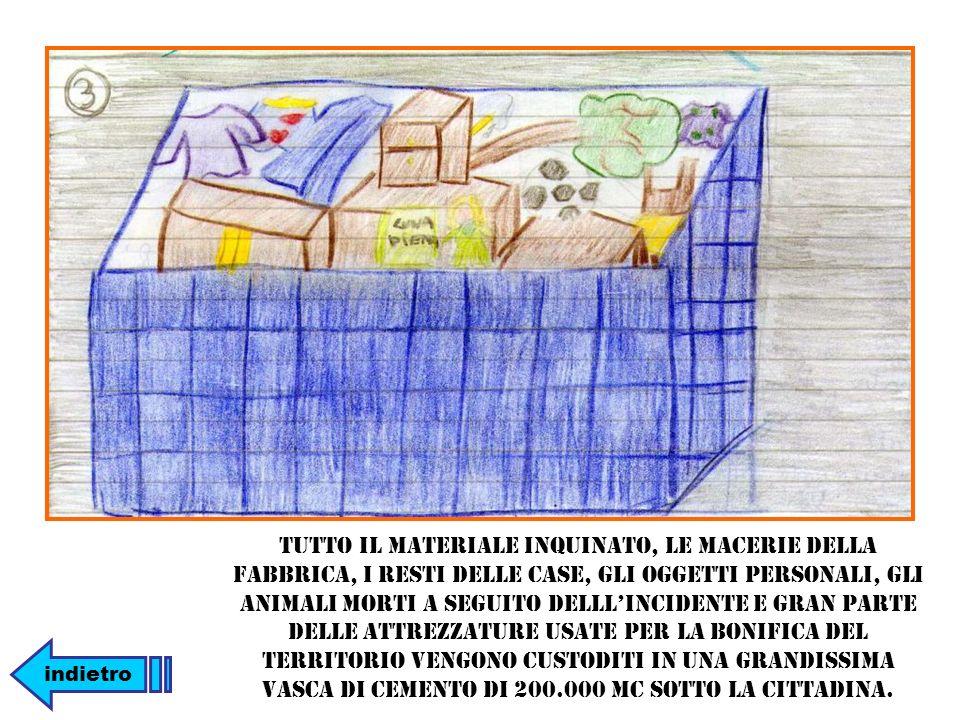 Tutto il materiale inquinato, le macerie della fabbrica, i resti delle case, gli oggetti personali, gli animali morti a seguito delll'incidente e gran parte delle attrezzature usate per la bonifica del territorio vengono custoditi in una grandissima vasca di cemento di 200.000 mc sotto la cittadina.